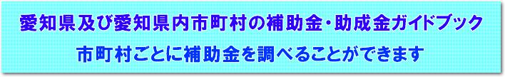 国・県の補助金 ・助成金及び愛知県内の各市町村等の補助金・助成金ガイドブック